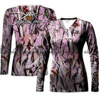 Women Leaping Camo Long sleeve shirt