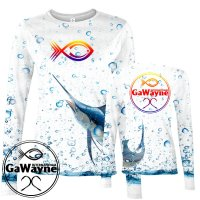 Marlin White Fishing Performance shirts